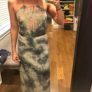 Bohemian tie dye maxi dress